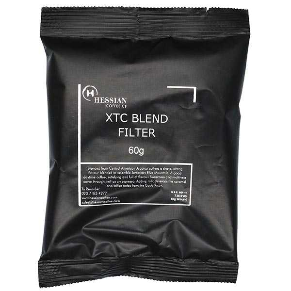 Filter coffee recently ground into 60g pre-packed sachets.